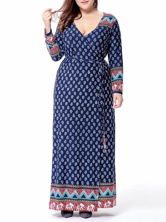Plus Size Ethnic Print Long Sleeve Bohemian Maxi Dress