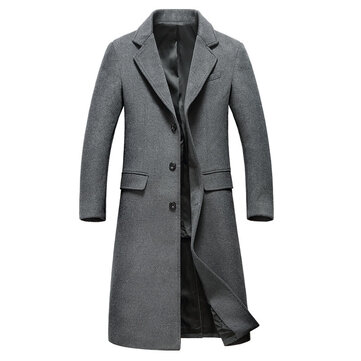 Mens Winter Long Woolen Overcoat Slim Single-breasted Trench