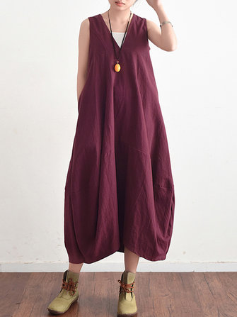Women Sleeveless V Neck Backless Tunic Baggy Maxi Dress