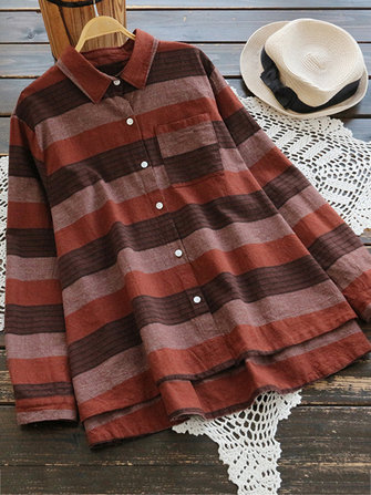 Casual Women Linen Loose Striped High Low Hem Button Long Sleeve Blouse