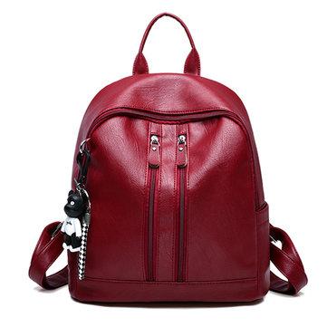 Double Shoulder Bag Wild PU Pendant Backpack For Women