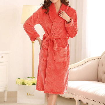 Winter Flannel Long Sleeve Thicken Pure Color Bathrobe Keep Warm Robe For Women