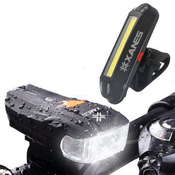 XANES 600LM German Standard Bike Front Light 500LM USB Rechargeable LED Bike Taillight Set