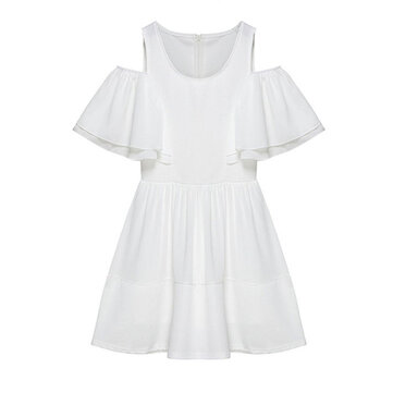 Elegant Women Off Shoulder Ruffle Chiffon Patchwork A-line Mini Dress