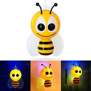 0.5W Cute Bee Butterfly Light-controlled Sensor Night Light for Children Bedroom Home Decor