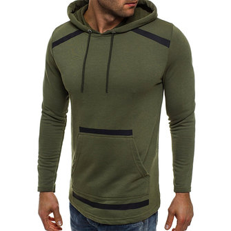 Men's Solid Color Big Pocket Hooded Long Sleeved Hoodies Sweatshirts