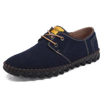 Men Comfy Lace Up Suede Flats Soft Sole Shoes