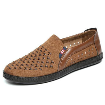 Men Breathable Woven Style Slip On Causual Leather Flats