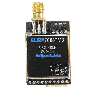 EWRF-7086TM3 5.8G 48CH 25/200/600mW Switchable Raceband Wireless FPV Audio Video Transmitter