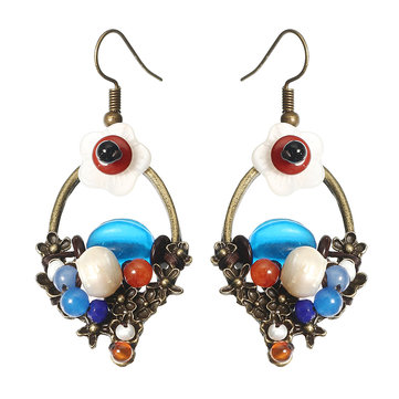 Ethnic Bead Earrings Tassel Flower Agate Ear Drop Jewelry for Women