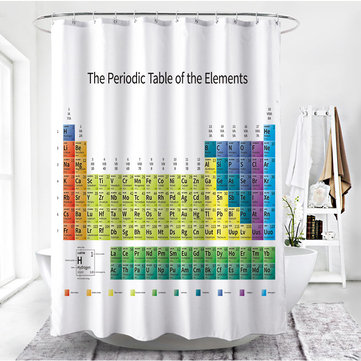 180x180cm Periodic Table of Elements Shower Curtain Waterproof Bathroom Chemistry Hanging Deocr