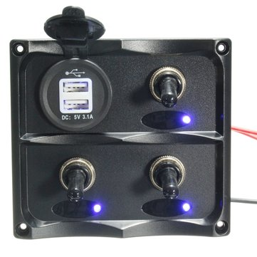 Buy 12V-24V 3 Gang LED Toggle Switch Panel & USB Socket Charger For Caravan Boat Marine for $33.68 in Banggood store