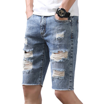 Fashion Holes Ripped Jeans Summer Slim Shredded Jeans for Men