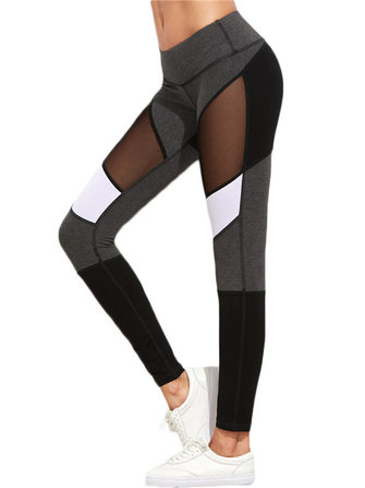 Sports Casual Women Color Block Mesh Insert Leggings