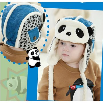 Winter Baby Kids Lovely Earflap Plush Panda Pilot Invierno Hats Aviator Hat  Bomber Children Masks Caps d2ff915b1e8
