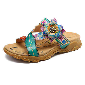 SOCOFY Leaves Splicing Genuine Leather Soft Comfy Flat Sandals