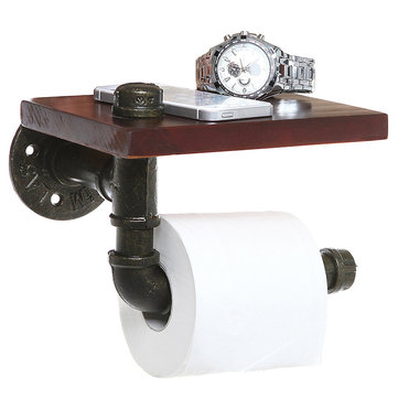 Industrial Style Iron Pipe Toilet Paper Holder Roller With Wood Shelf
