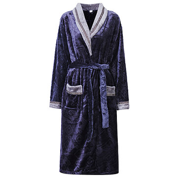 Winter Thicken Flannel Cardigan Bathrobe Comfortable Keep Warm Nightwear For Women Men Couples