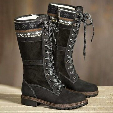Large Size Winter Suede Warm Lace Up Zipper Mid-calf Boots