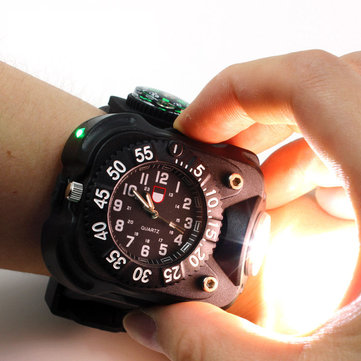XPE Q5 LED IPX6 Waterproof Multifunction Wrist Watch Flashlight Bicycle Torch Light USB Charging