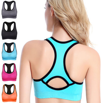 Women Shakeproof Running Aptidão Yoga Seamless Bra Wireless Respirável Academia Tank Vest Topo