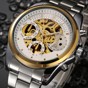 Gucamel GT11 Skeleton Stainless Steel Band Mechanical Watch