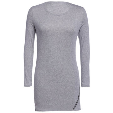 Zipper Casual Long Sleeve Stretch Bottom T-Shirt For Women