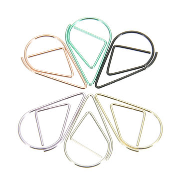 30 Pcs Colorful Metal Water Droplets Shape Paper Clips Office School Stationery