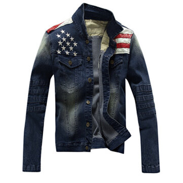 Autumn Winter Mens Denim Stitching Leather Fashion Slim Fit Jean Jacket