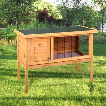 Wooden Rabbit Hutch Waterproof Indoor Outdoor Rabbit House Chicken Coop Hen House Poultry Pet Cage Bed