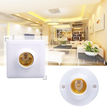AC220 E27 Round Square Shape LED Bulb Adapter Light Socket Lampholder Fitting Accessories