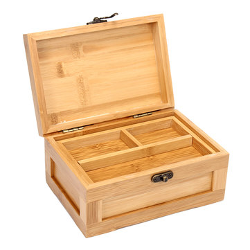 Retro Vintage Wooden Jewelry Bamboo Storage Gift Box Lock Women Rings Trinket Holder Organizer