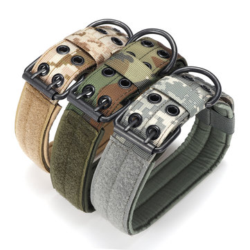 L Tactical Military Adjustable Dog Training Collar Nylon Leash w/Metal Buckle