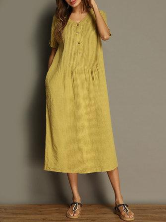 Kvinnor Vintage Pure Color V-Neck Pocket Kortärmad Klänning