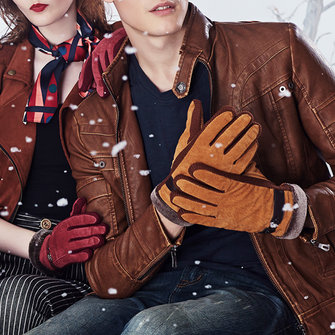 Unisex Couple Pigskin Leather Driving Gloves Cycling Coral Fleece Linen Bike Outdoor Mittens