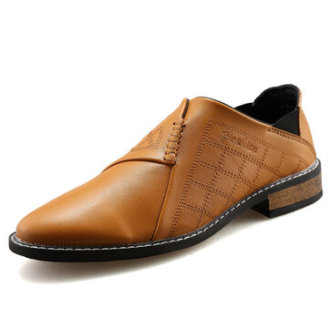 Men Casual Leather Pointed Toe Flats Shoes Casual Business