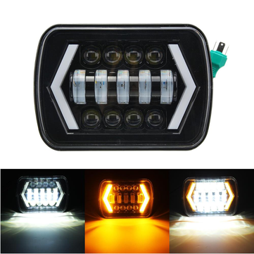 Single 7x6 5X7 55W H4 LED Headlights DRL for Jeep/Cherokee XJ/Wrangler YJ/Toyota Pickup