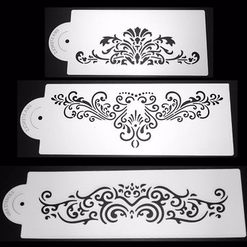 3Pcs Lace Plastic Cake Stencil Cookie Biscuit Fondant Stencil Wedding Cake Decorating Tool