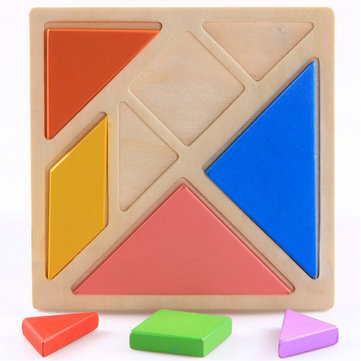 Tangram Puzzle Wooden Learning Geometry Educational Toy 13×13cm