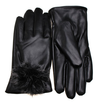 Women Winter Warm Soft Mitten Thickened Leather Gloves Vintage Outdoor Driving Girl