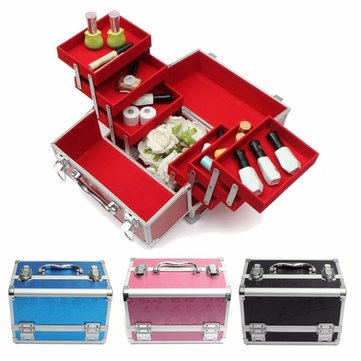 Aluminium Large Capacity Cosmetic Makeup Case Box Storage Organizer Container