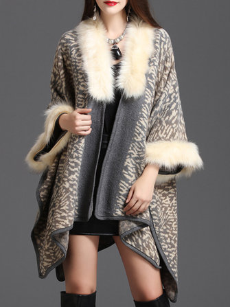 Plus Size Elegant Women Leopard Faux Fur Collar Coats