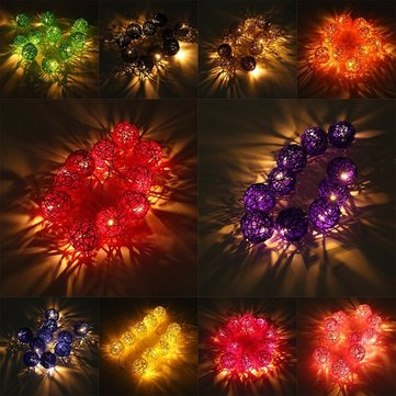Battery Powered 20 LED Rattan Ball String Light Home Garden Fairy Lamp Wedding Party Xmas