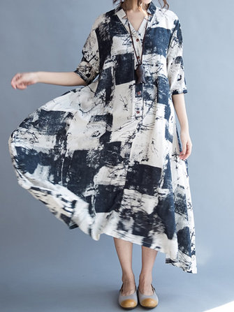 Women Half Sleeve Printed Loose Maxi Dresses