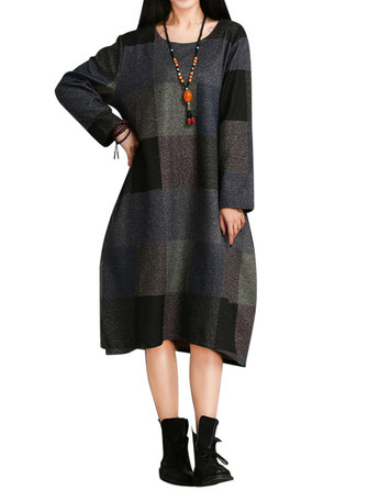 O-NEWE M-5XL Casual Women Plaid Long Sleeve Pocket Midi Dress