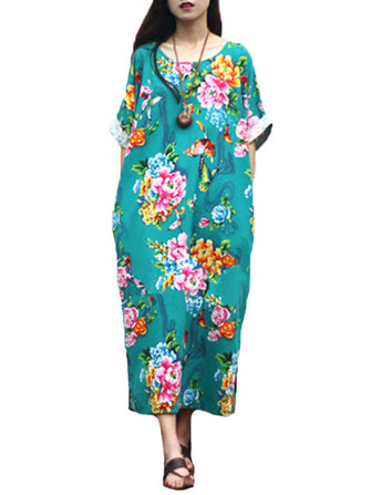 Chemise imprimée floral ethnique Batwing Sleeve Baggy Maxi Dress For Women