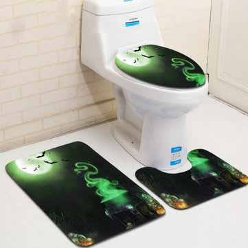3PCS Halloween Print Bathroom Non-Slip Pedestal U-shape Rug Lid Toilet Seat Covers Bath Mat