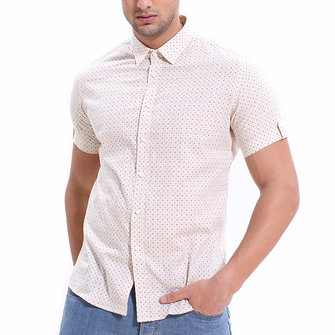 Mens Summer Fashion Dot Printing Short Sleeve Casual Shirts