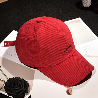 Unisex Embroidery Letter Corduroy Baseball Cap Adjustable Causal Outdoor Hat