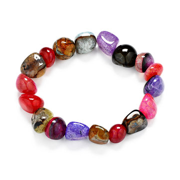 Colorful Ice Crackled Irregular Natural Gem Agate Bracelet